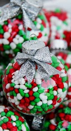 Nothing says I love you like homemade Christmas ornaments! Here is 75 ways to fill clear glass ornaments for homemade Christmas Ornaments! Homemade Ornaments, Homemade Christmas Gifts, Diy Christmas Ornaments, Christmas Candy, Winter Christmas, Christmas Time, Holiday Fun, Christmas Decorations, Tree Decorations
