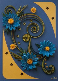 Quilling - flowers and swirl leaves card