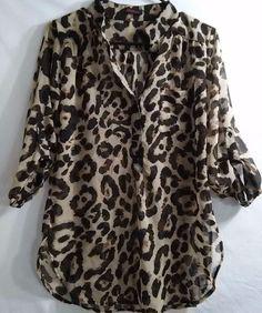XTaren Women's Top Shirt Blouse Leopard Print Semi-sheer 3/4 Sl. 1/2 Button G23 #XTaren #Blouse #CareerCasual