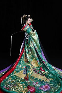 Incredible couture kimono in jewel tones.  Editorial fashion photo.  Stunning!