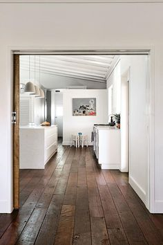 Looking into the renovated kitchen with recycled timber flooring Living Room Flooring, Kitchen Flooring, Bathroom Flooring, Cost Of Laminate Flooring, Flooring Options, Flooring Ideas, Dark Timber Flooring, Floor Design, House Design