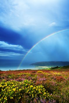 ~~Purlock Bay in Exmoor ~ beautiful rainbow, England by Rob Hatton~~ Beautiful World, Beautiful Places, English Countryside, Cute Photos, Nature Photos, Great Britain, Natural, Scenery, Places To Visit