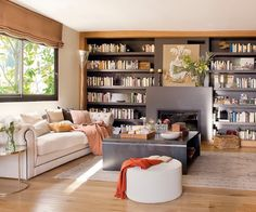 Really nice shelves, coffee table and a basket on the floor
