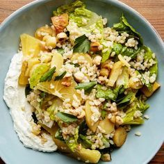Vegetarian Brown Rice Salad with Parsnips and Whipped Ricotta. This simple rice salad combines hearty parsnips, toasty hazelnuts, sweet orange segments, and crispy Little Gem lettuce for a bright, refreshing dinner. Creamy whipped ricotta finishes the meal with rich, filling protein. The trick of quickly boiling rice makes this recipe more weeknight-friendly.