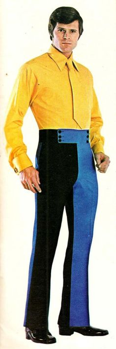 Bridget's boyfriend couldn't even commit to a trouser leg. How could he ever commit to a relationship? But wait! Before a rush to judgment, note he could really commit to yellow. Bad Fashion, Funny Fashion, Weird Fashion, Mens Fashion, We Wear, How To Wear, Vintage Advertisements, Make Me Smile, Cool Outfits