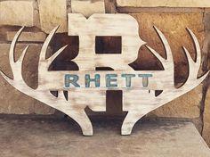 RHETT  Rustic antler name sign