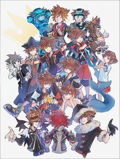 Many versions of Sora from all kingdom hearts series ^^ Kingdom Hearts 3, Kingdom Hearts Wallpaper, Kingdom Hearts Characters, Cry Anime, Anime Manga, Anime Art, Pokemon, Girls Anime, Video Game Art