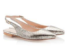 Fratelli Karida Silver snake print leather slingback pointed ballerina flats