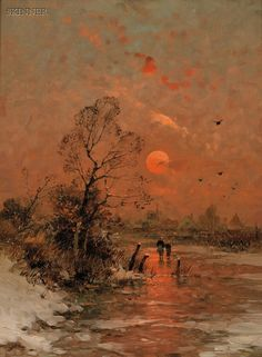 """American & European Paintings & Prints - Sale 2598B - Lot 223    Heinz Flockenhaus (German, 1856-1919)     Abendsonne   Signed """"H. Flockenhaus Dus."""" l.r., identified on a presentation plaque and on a   printed label affixed to the reverse.   Oil on panel, 10 1/8 x 7 1/2 in. (25.5 x 19.0 cm), framed.   Condition: Retouch.     Provenance: A Massachusetts estate.   Sold for $1,126.00"""