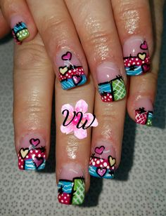 Cute patch work nail art on full set