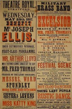 Vintage Theatre Poster - Theatre Royal - Stratford - London - 25 May 1887