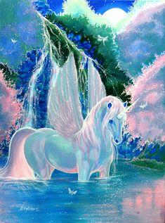 pegasus and unicorn Unicorn And Fairies, Unicorn Fantasy, Unicorn Horse, Unicorn Art, Fantasy Art, Rainbow Unicorn, Mythical Creatures Art, Mythological Creatures, Magical Creatures