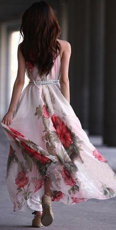 Summer floral / flowers maxi dress