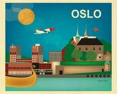 Poster, Print, Greeting Card illustration OSLO