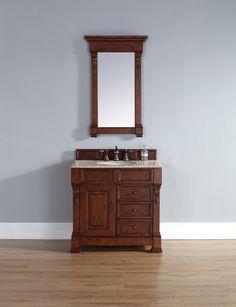 "James Martin 147-114-5586-RGB Brookfield 36"" Warm Cherry Single Vanity w/ Drawers with Beige Rust Stone Top"