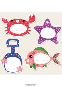 Nombre Tarjetas - Tema del océano - KidsPressMagazine.com