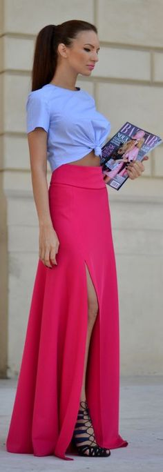 Love the colors but not the styles - Magenta Thigh Split Fitted High Rise Maxi Skirt by My Silk Fairytale