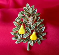 Vintage Signed Cadoro Partridge in a Pear Tree Brooch, Vintage Cadoro Christmas Brooch, Cadoro Signed Pear Tree Brooch, Vintage Cadoro Pin by MACJewelryDesign on Etsy