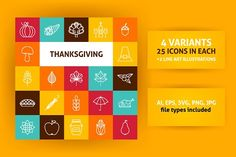 Thanksgiving Line Art Icons by Anna_leni on @creativemarket