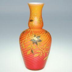 "942: S MOP Swirl Amberina vase,decorated, 6 3/4"" : Lot 942"
