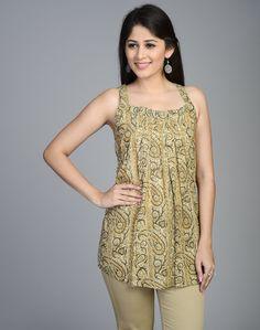 Cotton Mull Kalamkari Pleated Square Neck Short Kurta
