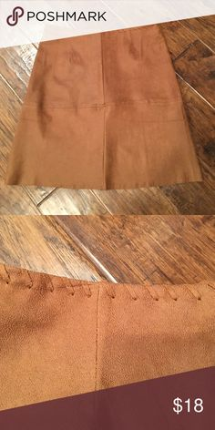 """Faux Suede Skirt NWOT. Excellent condition, never worn.  Zipper in back, whipstitching at waist.  Measurements laying flat:  Waist 13.5"""" Length 17.5"""" Skirts"""