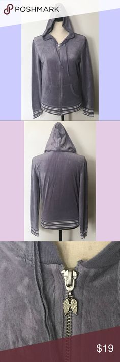Victoria's Secret Velour Jacket Purplish gray velour full zip hooded jacket has silver and white banded sleeves and bottom.  Angel wings zipper pull.  75% cotton,25% polyester. No stains or holes.  Size medium. Very cute! Victoria's Secret Jackets & Coats