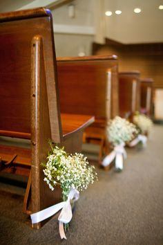 Our Fall Wedding, Church Pew Decoration What A Perfect And Simple Idea  ~this Is A Must! | She Said Yes! | Pinterest | Church Pew Decorations, ...