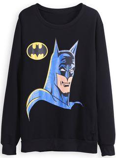 Black Long Sleeve Batman Print Sweatshirt US$22.79