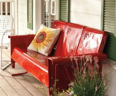 Looks like my parents glider :) vintage gliders,vintage porch gliders,retro metal porch gliders,old gliders - Vintage Gliders Vintage Porch, Vintage Love, Vintage Metal, Vintage Chairs, Antique Metal, Vintage Ideas, Vintage Decor, Vintage Outdoor Furniture, Lawn Furniture