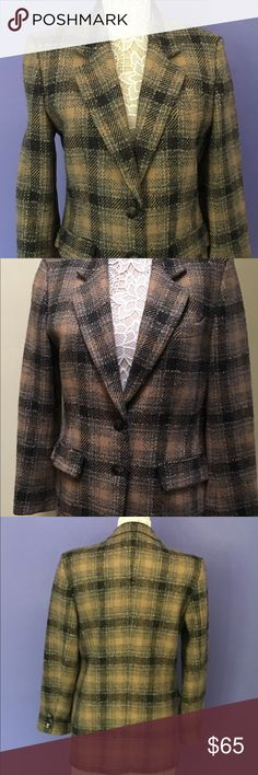 "Bernard Zins Wool Plaid Blazer Made in France Wool Plaid 2 button jacket in grey and brown tones. Side vent pockets. Approximate measurements shoulders: 18"" sleeves 24"". Satin lined Bernard Zins Paris Jackets & Coats Blazers"