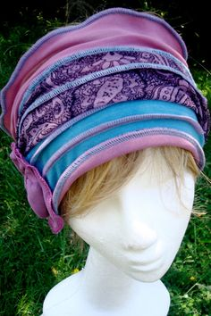 Womens Headband Head wrap head cover Chemo Hat Duck Egg Blue Alopecia Bohemian Headscarf