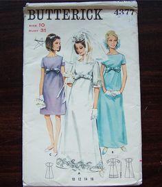 Vintage Bridal Dress Wedding Sewing Pattern Butterick 4377 Sz 10 Bust 31