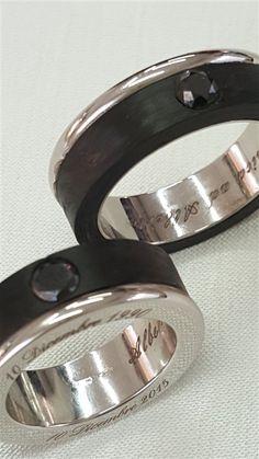 ticoloro 25 anni di matrimonio ricordati con due fedi speciali in oro 18kt brillanti neri e carbonio nero