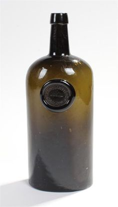 Lot 212 - Two part flask cylinder bottle, olive green, with seal by Thomas Gerrard, Gibbstown, Ireland,