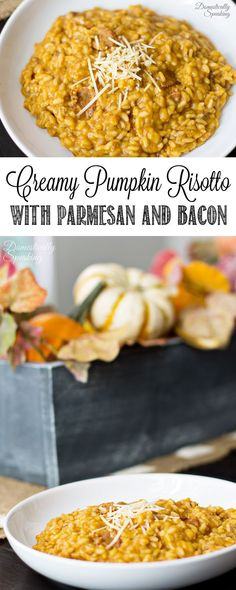 Delicious Creamy Pumpkin Risotto with Parmesan and Applewood Bacon - the perfect fall side dish. great for the holidays like Thanksgiving! Side Dish Recipes, Lunch Recipes, Breakfast Recipes, Dinner Recipes, Cooking Recipes, Side Dishes, Main Dishes, Bacon Recipes, Rice Recipes