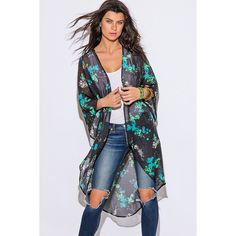 Teal green floral print black semi sheer chiffon boho kimono jacket ($15) ❤ liked on Polyvore featuring black