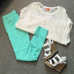 Mint White Sweater Outfit Perfect spring outfit! Mint skinny jeans size (jr's 7). Paired with the cutest oversized white sweater size Medium. Combine it with some cork wedges and you're set! Sweaters