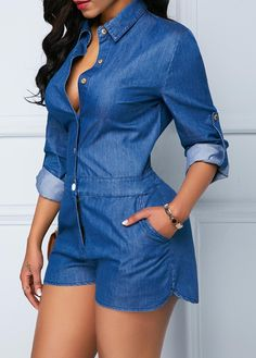 Jean Dress Outfits, Casual Outfits, Cute Outfits, Fashion Outfits, Summer Outfits, African Prom Dresses, Denim Romper, Stylish Girl Pic, Cute Rompers