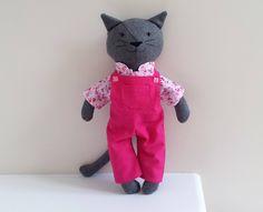 Cat Doll in Dungarees, Stuffed Animal Cat Plushie, Rag Doll named Elise by SaskiasStudio on Etsy