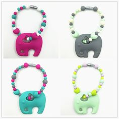 2016 silicone pacifier clip with large elephant teether silicone heart beads Teething Clip necklace BPA Free for teething baby(China (Mainland))
