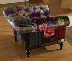 Brand-New-Anna-Scroll-1-Seater-Luxury-Fabric-Patchwork-Chair