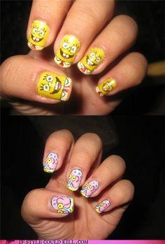 Spongebob and Gary nail art.