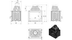 wkład kominkowy ZUZIA 16kW kominek żeliwny KRATKI~ Cast Iron Fireplace, Combustion Chamber, Fireplace Inserts, Technical Drawing, Energy Efficiency, Radiators, Bookends, Floor Plans, Houses
