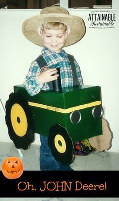 Recycled cardboard boxes and a bit of paint transformed into a farm vehicle. #halloween #costume