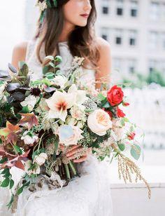 Burgundy-berry wedding bouquet