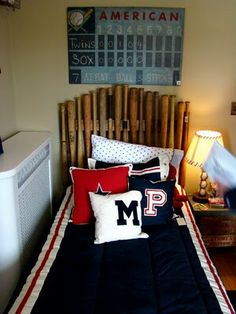 Itsy Bits and Pieces: Bachman's Spring Ideas House -- decorating ideas did a baseball fan's bedroom -- headboard made of baseball bats #maudelovesbachmans