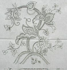 Vintage Embroidery Transfers   Details about VINTAGE SILVER EMBROIDERY TRANSFER - LARGE JACOBEAN ...