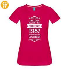 30. Geburtstag 1987 Leben Beginnt Mit Dreißig Frauen Premium T-Shirt von Spreadshirt®, XL, dunkles Pink - Shirts zum 30 geburtstag (*Partner-Link)