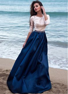 Bridesfamily Glamorous Satin & Sequin Lace Scoop Neckline Length Sleeves A-line Evening Dress With Beadings Prom Dresses With Sleeves, Ball Dresses, Modest Dresses, Dance Dresses, Pretty Dresses, Beautiful Dresses, Ball Gowns, Bridesmaid Dresses, Formal Dresses